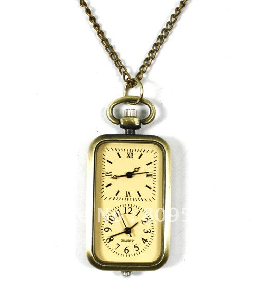 wholesale double two dual movement pocket watch yellow quartz bronze good quality fashion fob watches lady