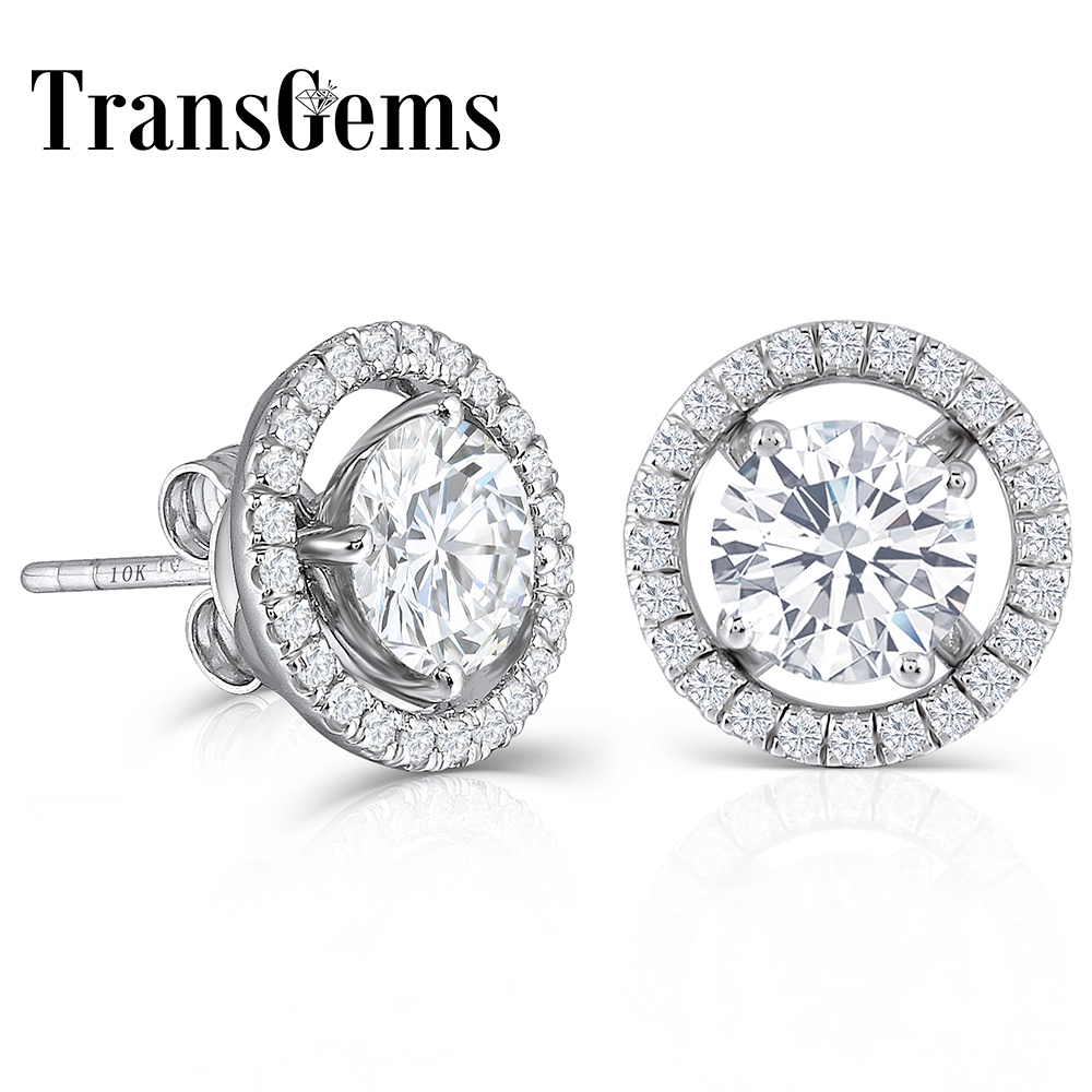 все цены на 10K White Gold Post 2.24CTW H color moissanite Stud Earring with Jackets Platinum Plated Silver Push Back