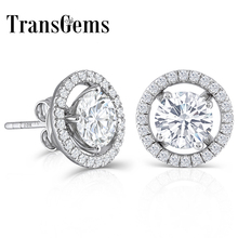 TransGems 10K White Gold Post 2.24CTW H color moissanite Stud Earring with Jackets Platinum Plated Silver Push Back Gifts