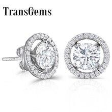 TransGems 10K beyaz altın sonrası 2.24CTW H renk moissanite düğme küpe ceketler ile gümüş itme hediyeler