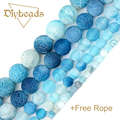Blue Weathered Agate Beads Natural Agate Stone Round Loose Bead Ball Jewelry Bracelet Making DIY  Size 4/6/8/10/12MM Diybeads