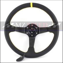 new  Car accessories Racing Steering Wheels 14 inch Genuine Leather Black Drifting Wheel