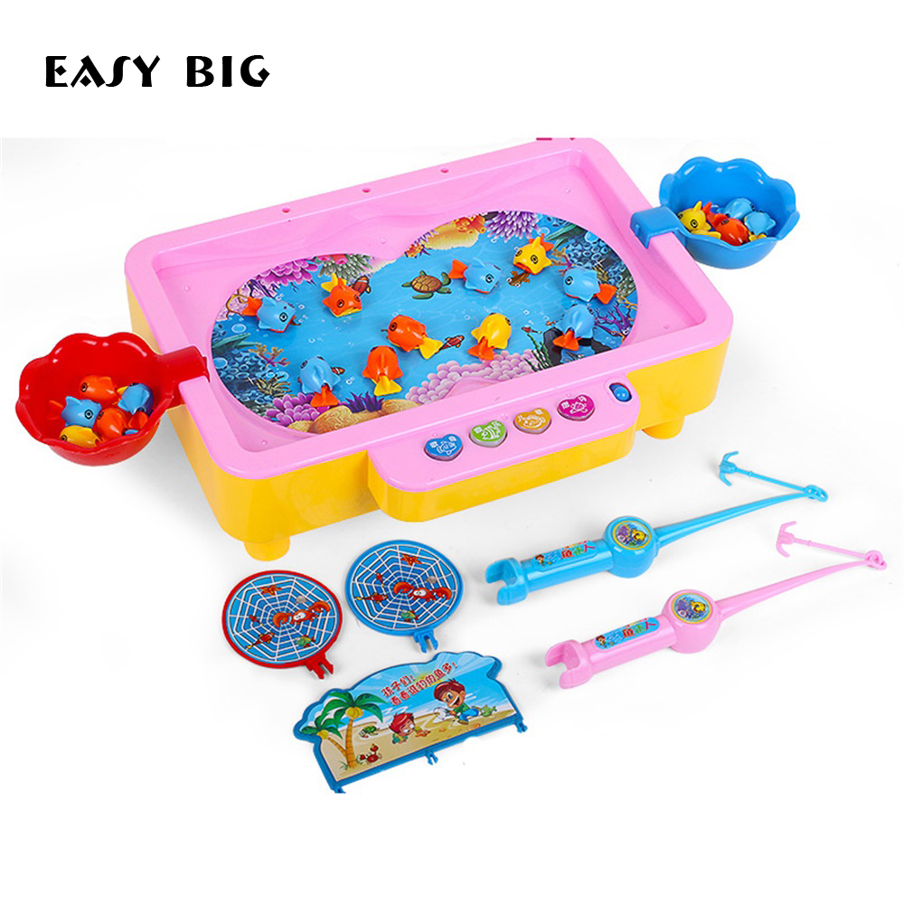 EASY BIG Electric Magnetic Baby Fishing Toys Set With Song/Music Educational Fish Toy Child Birthday/Christmas Gift TH0040