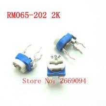 50 PCS RM-065 RM065 2 K ohm Trimpot Trimmer Potenciômetro resistor variável 202 RM065-202 frete grátis