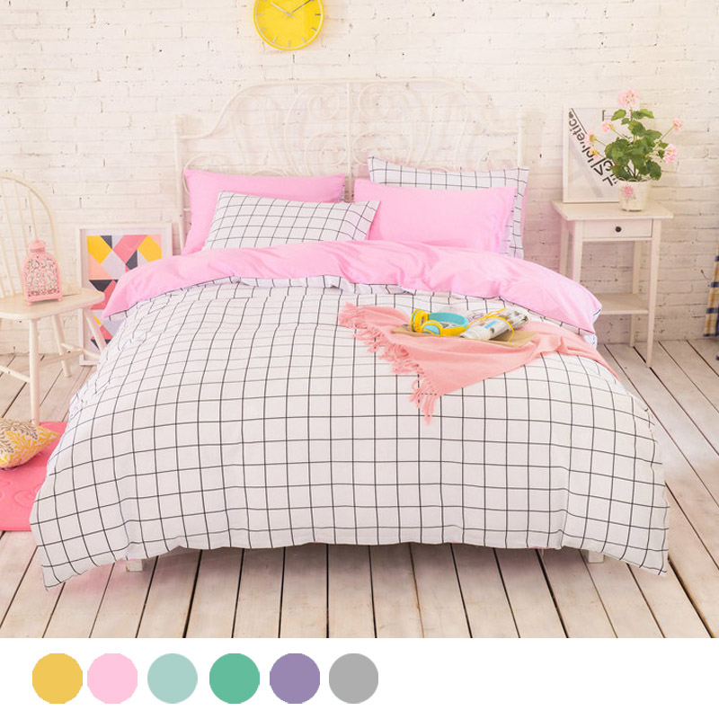 <font><b>High</b></font> density pure cotton Duvet covers set,Simple lattice bedding set,Double single duvet covers <font><b>king</b></font> size,bedclothes #HM4529