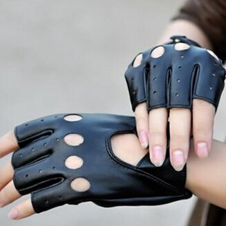1pair Fashion Punk Jazz Fingerless Gloves Black PU Half Finger Driving Show Women Gloves For Women