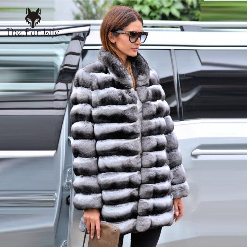 De alta calidad piel de Chinchilla abrigos para mujeres abrigo de piel de conejo Rex Collar Real de piel de abrigo
