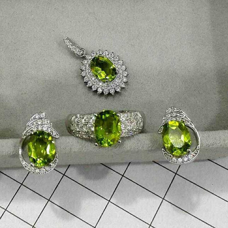 Fidelity Natural peridot s925 sterling silver earrings ring Pendant classic jewelry sets natural lemon gem fine jewelry women