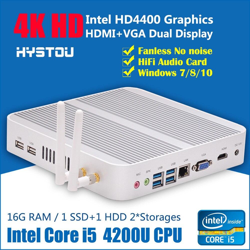 US $342 86 |Fanless PC Host Computer Intel Core i5 4200U 4G RAM 128G SSD  Wifi Gigabit Lan Ultra HD 4K-in Mini PC from Computer & Office on