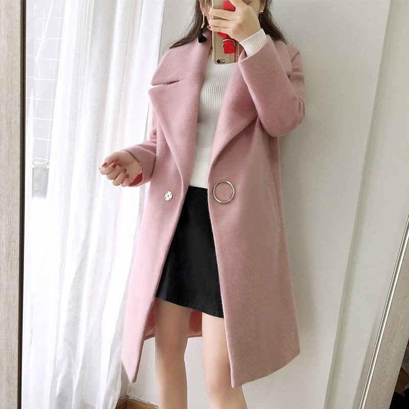 2018 белый полушерстяные пальто для женщин с лацканами длинная парка зимняя куртка кокон стиль элегантный шерстяное пальто утолщенное женская верхняя одежда YP1652