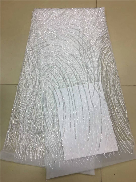 New Arrival Design white Sequined Mesh Lace Fabric African Women Party Dress Sewing Material NIgeria Quality