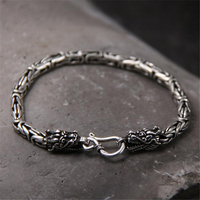 100 Real Pure 925 Silver Men Bracelet Wholesale Genuine Fine Double Dragon Head Bracelet Drop Shipping