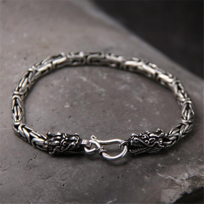 100% Real Pure 925 Silver Men Bracelet Wholesale Genuine Fine Double Dragon Head Bracelet Drop Shipping Men Jewelry