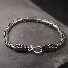 100% Real Pure 925 Silver Men Bracelet Wholesale Genuine Fine Double Dragon Head Drop Shipping Jewelry