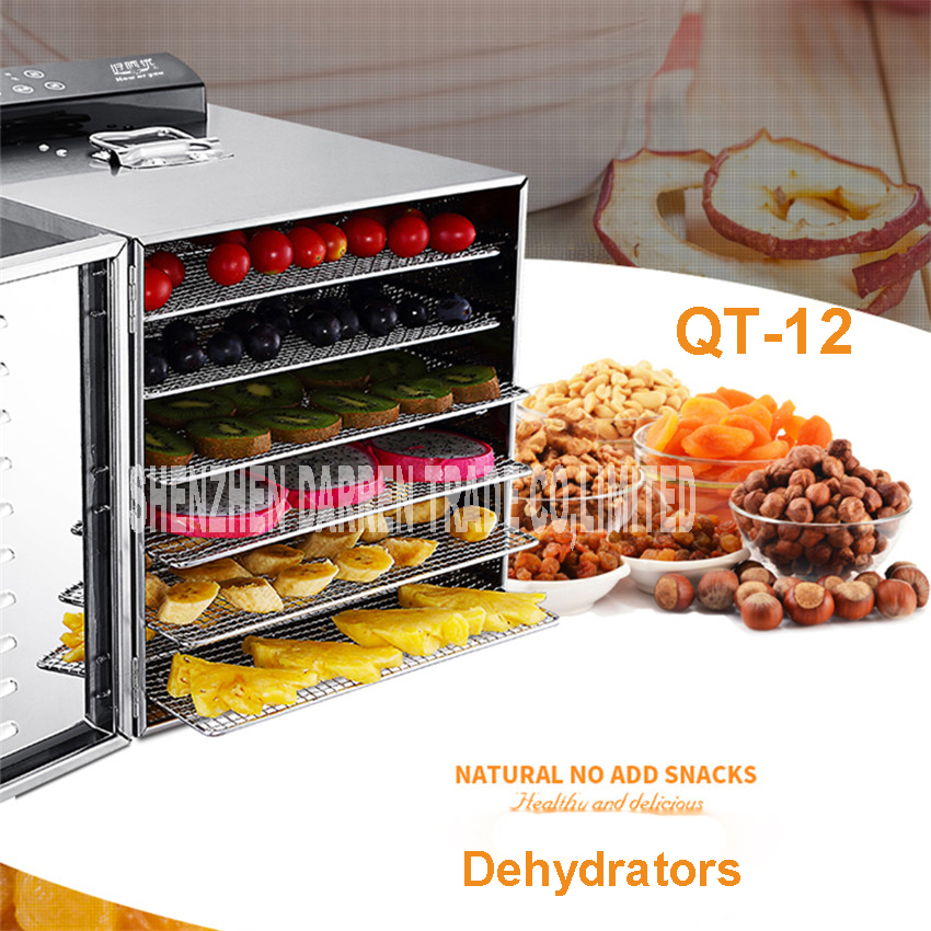 QT-12 Temperature time control Stainless Steel fruit dehydrator machine dryer fruits and vegetables food processor drying fish quality control and safety of fruit juices nectars and dairy products
