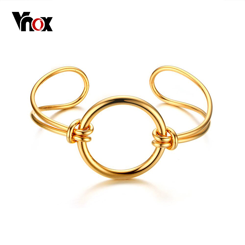 Vnox 2017 NEW Gold-color Knot Round Cuff Bracelet Stainless Steel Hollow Women Bracelet & Bangle Daily Jewelry Accessories ...