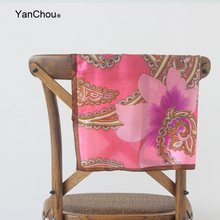 Luxury Women Paisley Square Silk Scarf Small Floral Foulard Soie Quality Neckerchief Ethnic Womens Print Muberry Scarves 50cm
