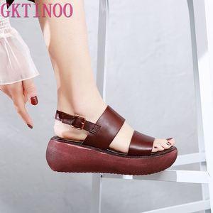 Gktinoo couro genuíno sandálias femininas 2020 retro sapatos de verão plataforma cunhas saltos sandálias de couro macio sapatos femininos feitos à mão