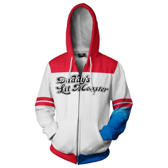 Comics Suicide Squad Harley Quinn Costume Casual Hoodie Zipper Daily Hooded Sweatshirt Printed Top Universal for men and women