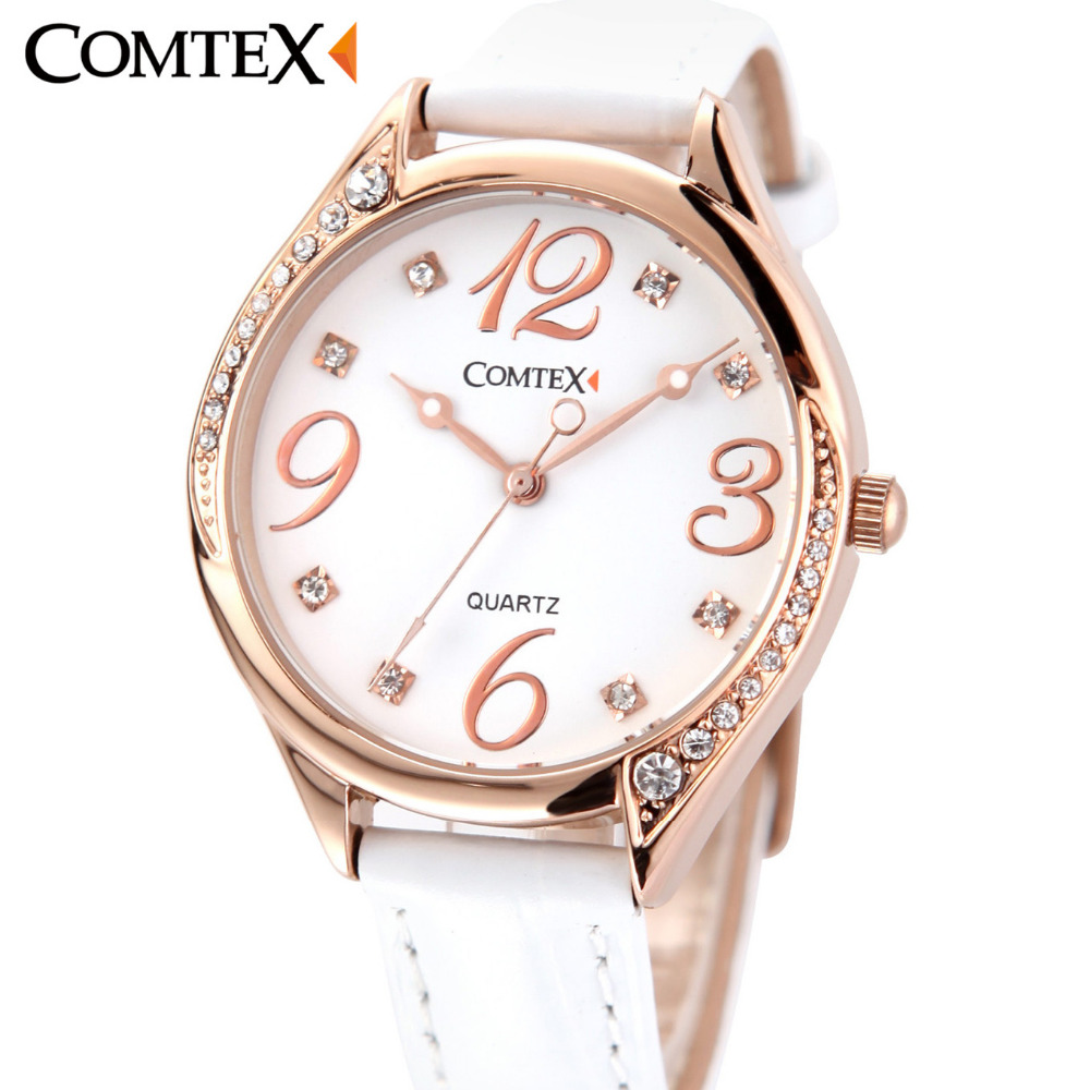 ФОТО COMTEX New Watch Women Stainless Still Case Leather Band Casual Fashion Female Crystal Watch Luxury Brand Quartz Watch Bracelet
