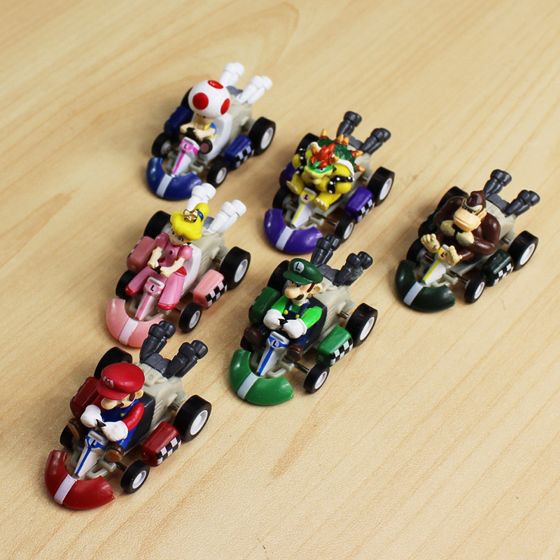 Super Mario Bros Kart Pull Back Car Figures Action Figure Toys Kids Gift 6 PCS
