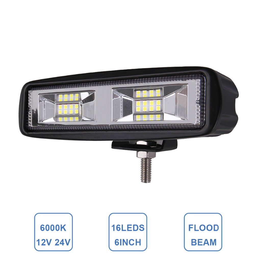 Offroad 6'' Car LED Work Light Bar Flood DRL Lamp Car SUV Truck Trailer Wagon Pickup 4x4 ATV Motorcycle 4WD 12V 24V Driving Lamp