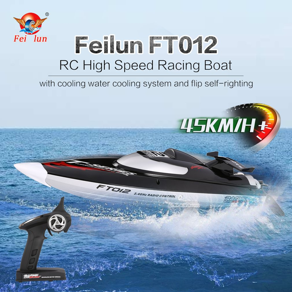Hot! 2.4G Brushless Speedboat 45km/h High Speed RC Racing Boat Ship Water Cooling Self-righting System RC Boat Toy FeiLun FT012 цена 2017