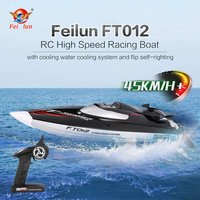 Hot! 2.4G Brushless Speedboat 45km/h High Speed RC Racing Boat Ship Water Cooling Self righting System RC Boat Toy FeiLun FT012