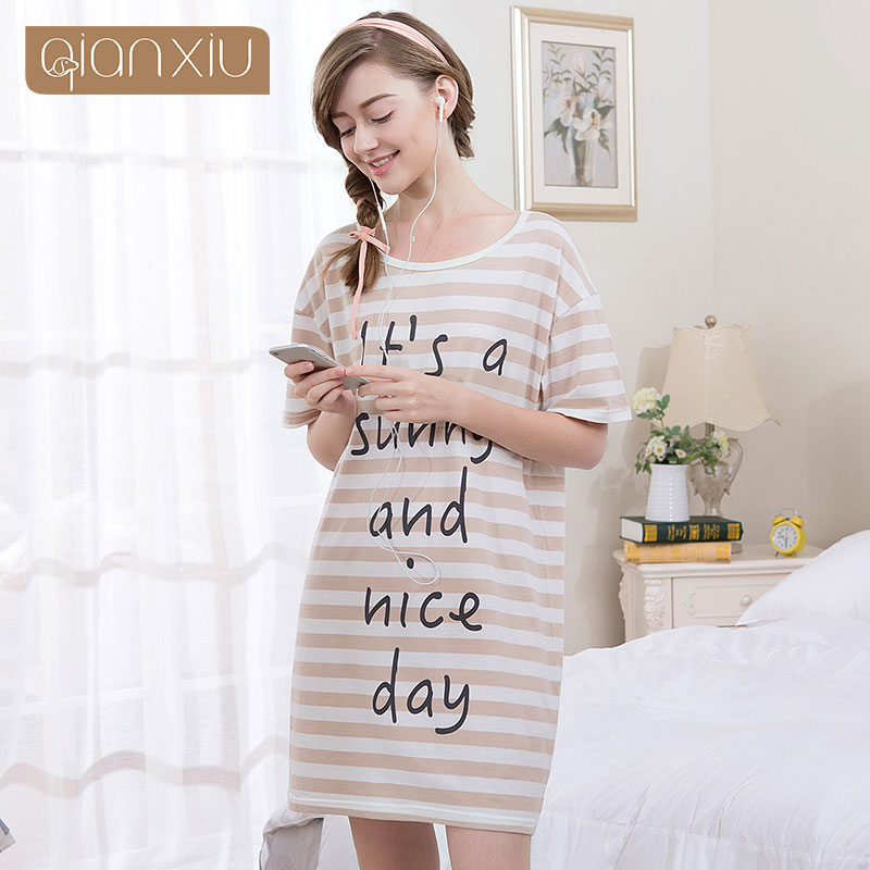 Qianxiu 2017 Popular Burst Models   Nightgown   For Women Knee-Length For Girls   Sleepshirts   1765
