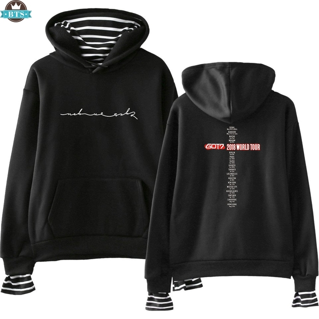 4edaf1d4768 US $12.67 40% OFF|GOT 7 Men/Women Cool Idol Long Sleeve Fake Two Fashion  Top Pieces Hip Hop Summer/Autumn Size Popular Clothes 2018 New XXS XXL-in  ...