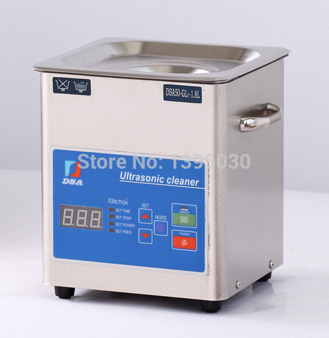1PC Digital DSA50-GL1 110/220V Ultrasonic Cleaner Stainless Steel 1.8L Adjustable Free Basket 15l stainless steel digital ultrasonic cleaner with timer and heater including washing basket