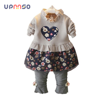 Spring Autumn Children Girls Clothing Suits Cute Baby Dress Pants Toddler Casual Embroidered Flower Clothes Suits For Girls