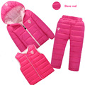 3 Pcs/set  toddler girl  winter clothes  Baby Boys Clothes Sets Down Cotton-padded Coat+Vest+Pants Kids Infant Warm Outdoor Suit