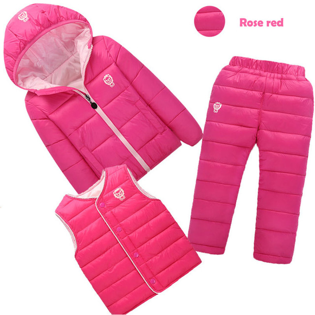 3 Pcs/set  toddler girl  winter clothes  Baby Boys Clothes Sets Down Cotton-padded Coat+Vest+Pants Kids Infant Warm Outdoor Suit