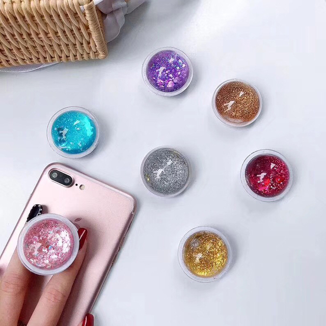 newest collection 0fa86 41ac5 Quicksand Flower Phone Holder Fashion Expanding Grip Stand Universal Phone  Accessories Socket for iPhone Samsung Huawei
