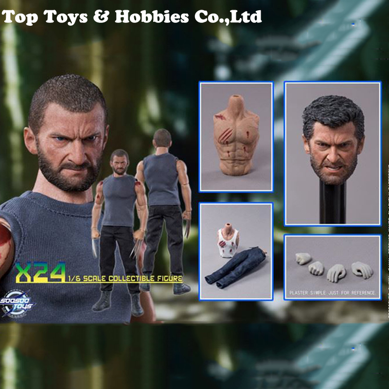 with 2 heads Whole set figure for Collection 1/6 Logan angry head scuplt+Sturdy Male X24-Tailor made body Action Figure