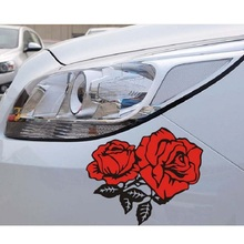 цена на 14x12CM Car Stickers For Red Flowers Rose Colourful Beautiful Creative Decals Yellow Reflective Auto Tuning Styling Waterproof