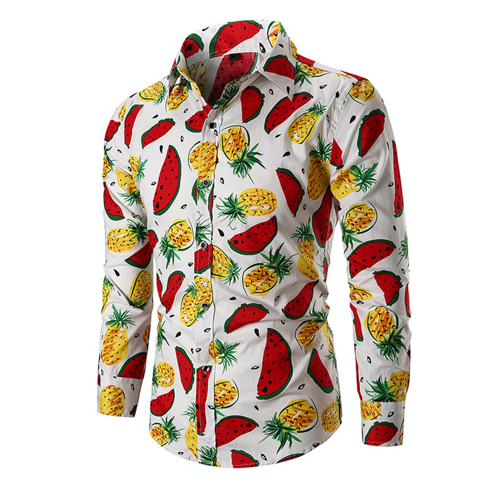 Hip Hop Fruit Pattern Man Shirt Long Sleeve Male Party Blouse Turn-down Collar Tops Funny Fruits Print Shirts Boy 3XL Slim BLusa