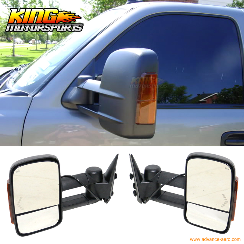 Fit For 02 07 Chevy Silverado Sierra Towing Mirrors Power Heated Signal Arrow Light Pair USA Domestic Free Shipping Hot Selling