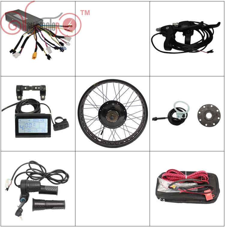 """Ue livre de direitos 36 v 48 v 1200 w kits de conversão ebike pneu gordo 175 190mm bicicleta elétrica roda cubo traseiro 20 """"24"""" 26 """"controlador lcd3"""