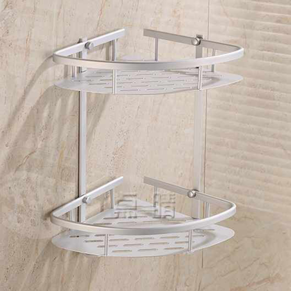 Antique Silver Brushed Corner Basket Double Layer Space aluminum ...