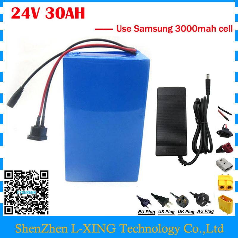 Free customs duty 24V 30AH Electric lithium battery pack 24V 30AH scooter battery use Samsung 3000mah cell with 3A Charger free customs duty 36v 28ah battery pack 1500w 36 v lithium battery 28ah use samsung 3500mah cell 50a bms with 2a charger