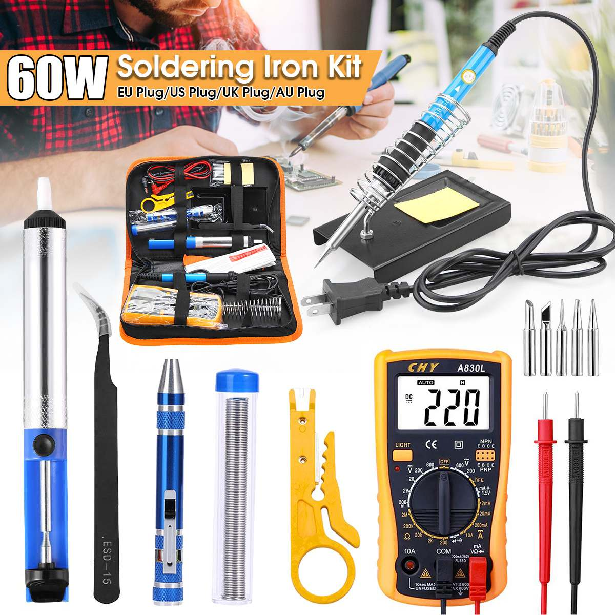 220V  Soldering Iron Kit Electric Welding Tool 60W Adjustable Temperature 110V