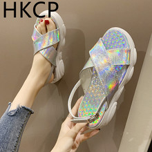 HKCP Fashion Chunky soles for summer 2019 new Roman sequins ladies go with muffins and student-toe sandals C262