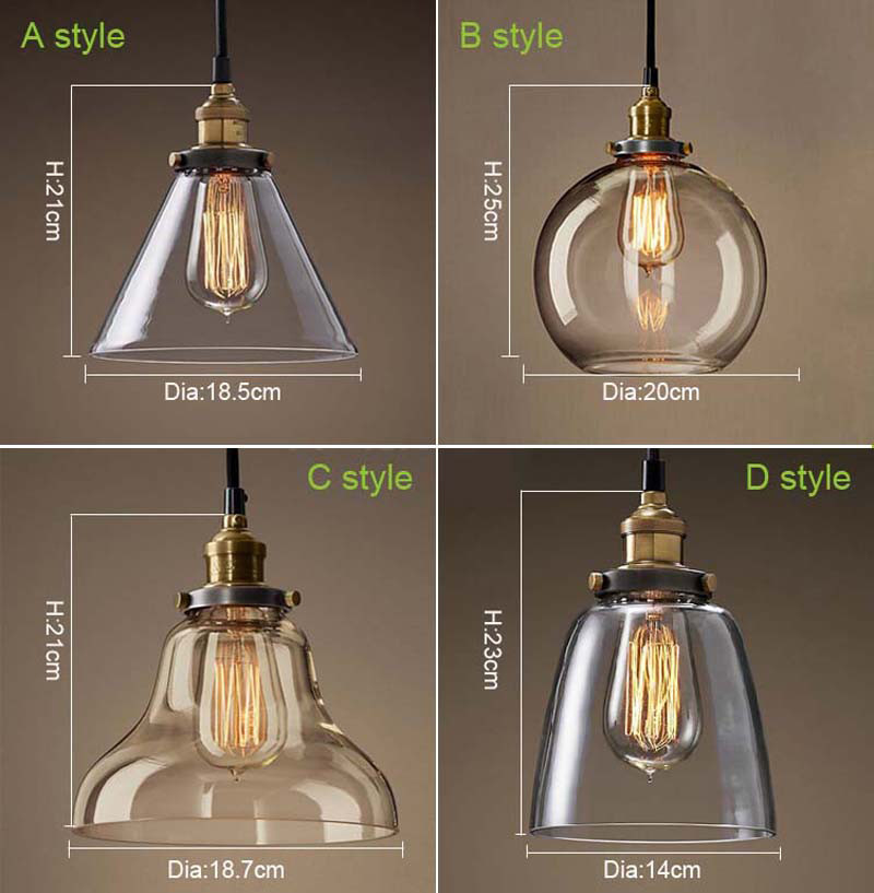 Clear glass lamps pendant light luminaria pendente retro for Sala de estar vintage