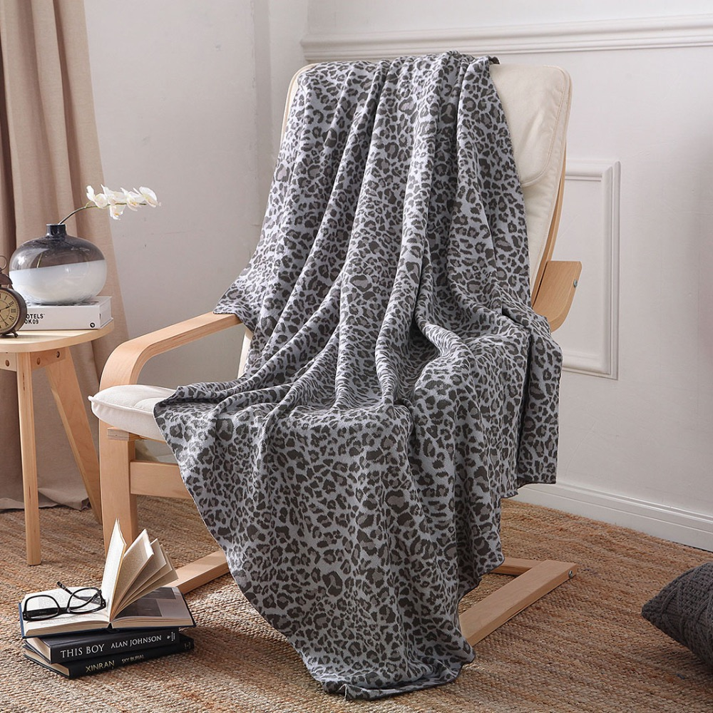 iDouillet 100% Cotton Grey Leopard Knit Blanket Throw for Travel Sofa Couch Chair Bedding Blankets Oversized <font><b>50</b></font>