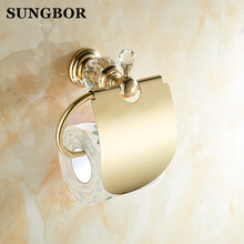 цены 4 Color Crystal Brass Bathroom Toilet Roll Paper Box Holder Gold Toilet Paper Holder Paper Holder Tissue Box SH-99908K