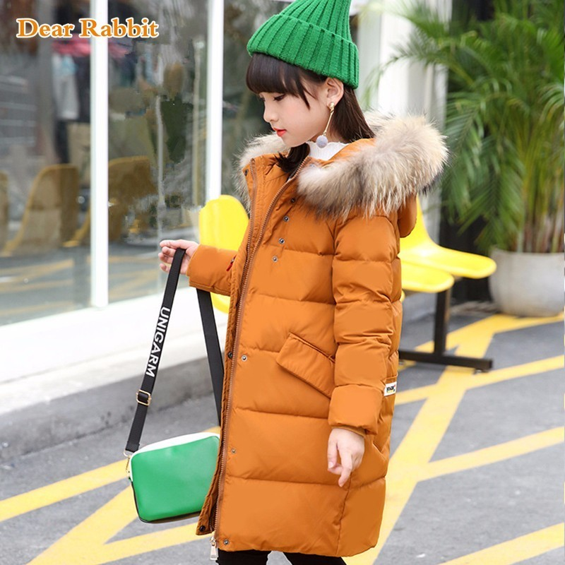 new Russia children's Winter Down Jacket for girl clothes Parka Warm Jackets kids Long Section Hooded Fur Collar Coat -30 degree 2017 new design girl boy thick jackets real fur hooded long coat kids big girl for cold russia winter clothing dress overcoat