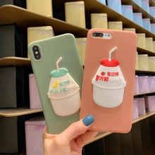 Tfshining 3D Milk Drink Cute Phone Cases For iphone X XR XS Max Sweet Banana Japan Korea Soft Cover iphone6 6s 7 8 Plus Case