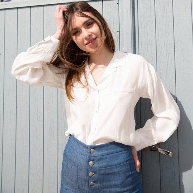 Blusa de manga larga con cuello a medida blanco/negro para mujer de seda 100%-in Blusas y camisas from Ropa de mujer    1
